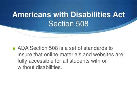 section 508 web accessibility standards ada section 508