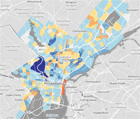 philly crime map this map shows change in crime by neighborhood