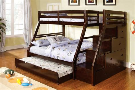 Bunk Bed With Trundle And Drawers Ellington Walnut Solid Wood Step Bunk Bed Drawers Trundle