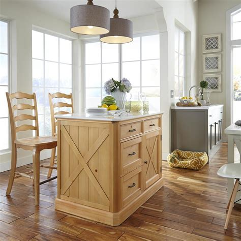 kitchen island and stools home styles country lodge pine kitchen island with quartz