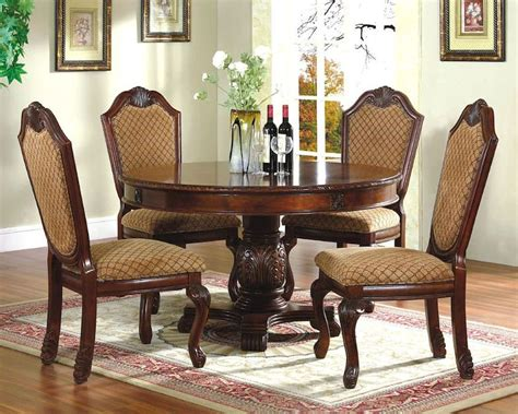 dining room table sets 5pc dining room set with round table in classic cherry