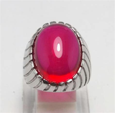 Batu Akik Merah Siam Ring Rodium batu cincin akik