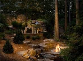 woodland fire pit large yard landscaping ideas landscaping network
