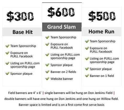 Sponsor Plrll Softball Sponsorship Form Template