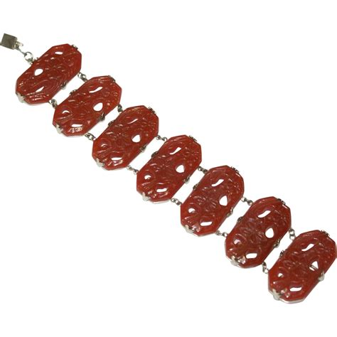 wide carved floral carnelian bracelet from fauxjewels on