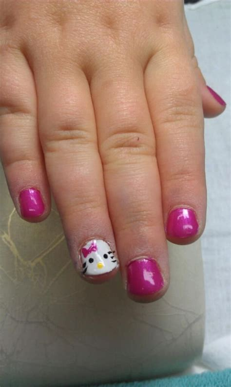 nail ideas for miami beach manicure pinterest girls sweet pink hello kitty nails on the cutest little girl