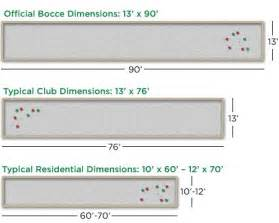 bocce ball court dimensions is no standard or