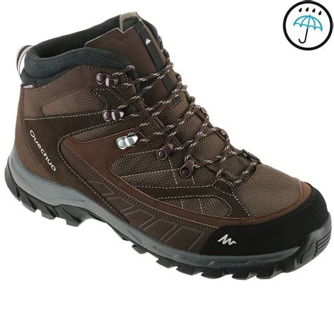 mens boots 100 forclaz 100 high s waterproof walking boots brown