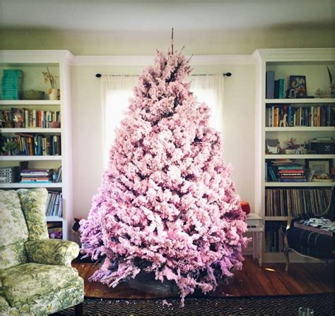 decorating a pink christmas tree flocked tree a wintry look of your decoration
