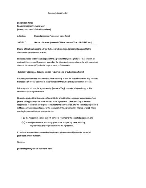 contract award letter template templates