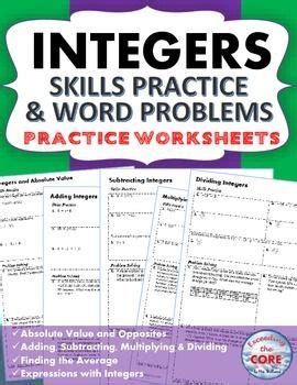 integers homework practice worksheets skills practice
