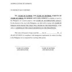Consent Letter For Minor Philippines travel consent letter for minor philippines of letter of consent
