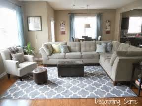 Decorating Ideas For Living Room With Blue Sofa Family Room Gray Trellis Rug Sectional Blue Accents Living