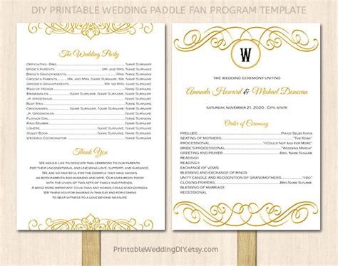 printable wedding program fan by yourweddingtemplates on etsy