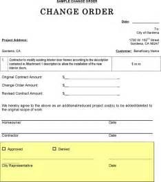 Change Order Cover Letter Change Order Sle For Free Formxls