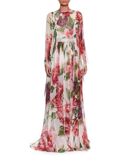 dolce gabbana long sleeve rose peony print silk