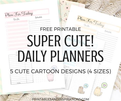 free printable daily agenda half size journals free printable super cute daily planners printables and