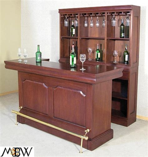 6ft solid mahogany home liquor wine bar w rails