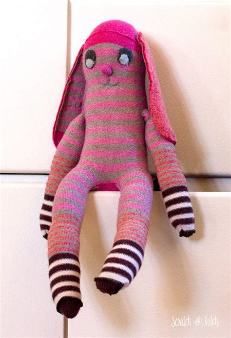 sock bunny knit and fit tutorial inside out sock bunny softie sewing