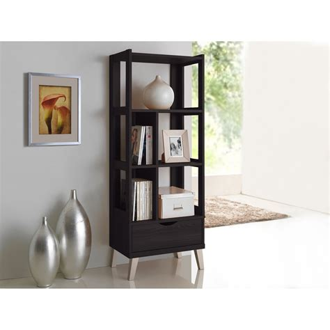 Modern Brown Wooden Display Shelf Baxton Studio Kalien Modern And Contemporary Brown