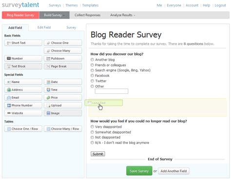 Build Online Survey - online survey tool free online surveys form survey builder software tool