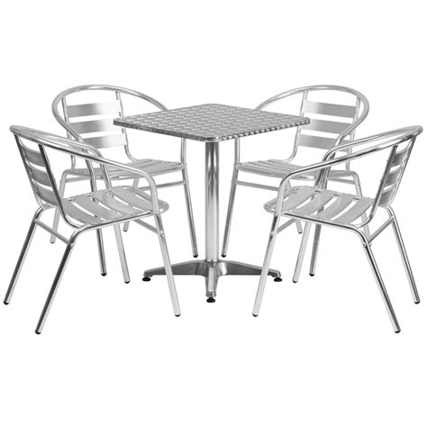 steel or aluminum patio furniture stainless outdoor table set 23 5 quot square restaurant table sets