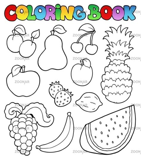 fruits coloring book and vegetables pictures peach color