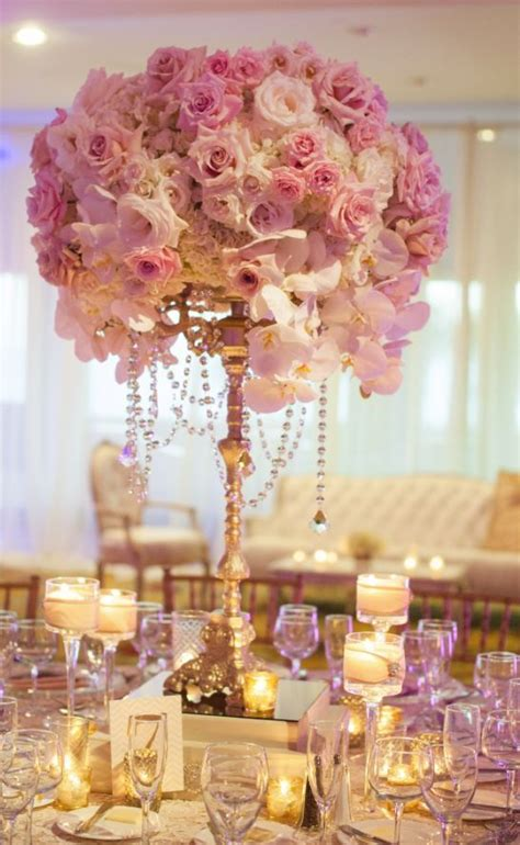 and orchid gold wedding reception centerpiece
