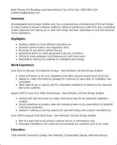 Solar Installer Sle Resume professional solar energy installer templates to showcase your talent myperfectresume