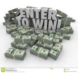 Break Letter Lottery enter to win words in 3d letters surrounded by money cash or currency