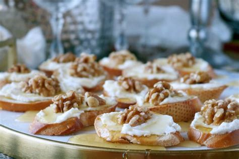 goats cheese canape recipes goat cheese canape with honey and walnuts recipe the