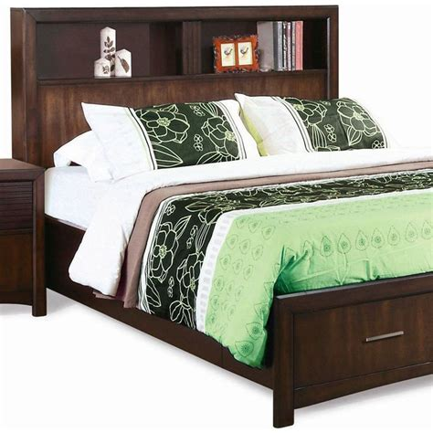 Storage King Headboard by Edison King Storage Bed Bookcase Headboard Java Oak