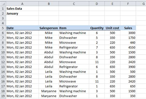 simple excel database template freeze or lock rows and columns in an excel worksheet