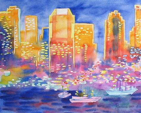 Landscape Paintings New York New York Great City Silhouettes 2007 Painting By