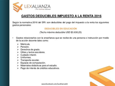 tabla de impuesto ala renta 2016 gastos deducible gastos deducibles impuesto a la renta 2016
