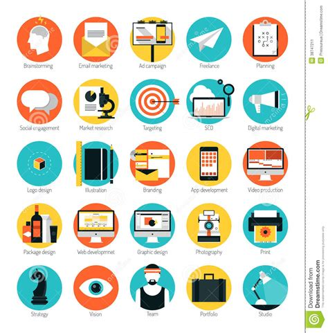 design service icon vector marketing and design services flat icons set stock image