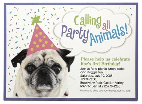 Free Pug Card Template birthday invitations bagvania invitations ideas