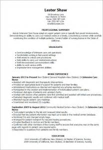 Icu Pharmacist Sle Resume by Professional Intensive Care Templates To Showcase Your Talent Myperfectresume