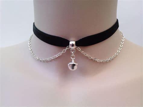 Bell Choker black velvet ribbon choker necklace with jingle bell and