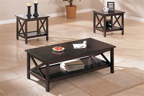 three piece living room table set 3 piece dark brown finish living room table set