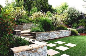 sloping garden design ideas corner