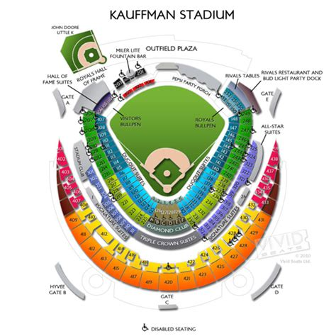 kauffman stadium map kauffman stadium maps seating charts and tickets to kauffman stadium