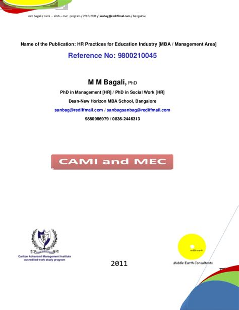 Project For Mba Hrm by Mm Bagali Phd Hrm Project For Mba Institute