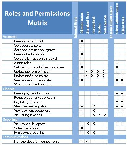 requirements roles and permissions matrix