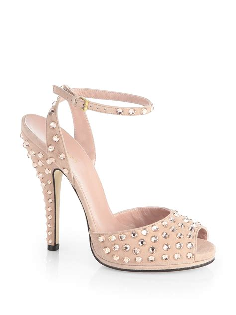 blush sandals gucci crystalcoated suede sandals in pink blush lyst