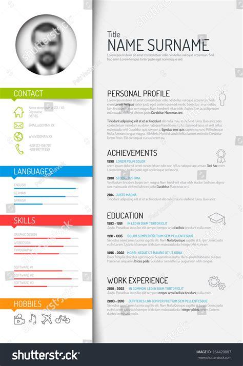 Creating A Job Resume by Vector Minimalist Cv Resume Template Light Stock Vector