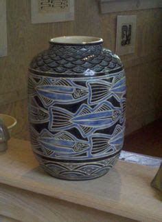 Adele White Ceramic Vase ken tracy pottery dragonflies capca ken tracy