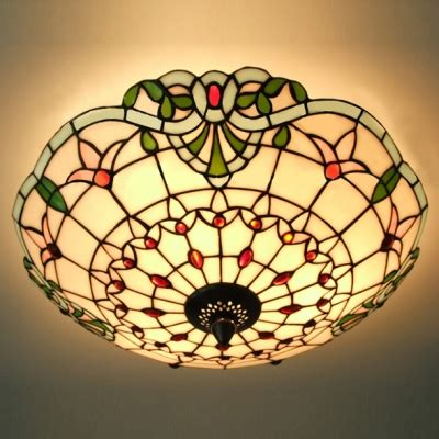 stained glass flush mount ceiling light three light made stained glass 3 light flush