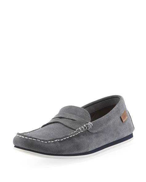 grey loafers for lacoste suede loafer gray in gray for grey lyst
