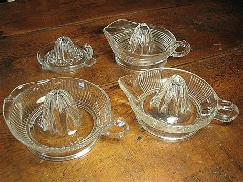 Antique Glass by Grandma S Set Of Four Vintage Glass Juicers From